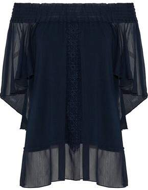Elie Tahari Antonia Off-The-Shoulder Georgette-Paneled Embroidered Jersey Top