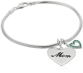 Rhodium Plated Sterling Mom and Created Emerald Heart Dangled Charm Bracelet