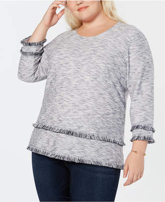 Style&Co. Style & Co Plus Size Space-Dyed Fringe-Trim Top