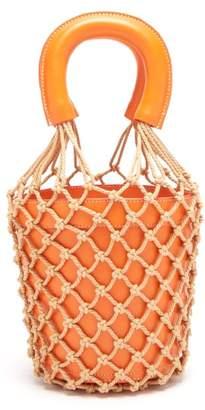 STAUD Moreau Macrame And Leather Bucket Bag - Womens - Orange