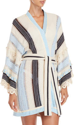 Jonathan Simkhai Belted Crochet Stripe Cover-Up Cardigan