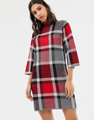 Warehouse sweater dress in red check