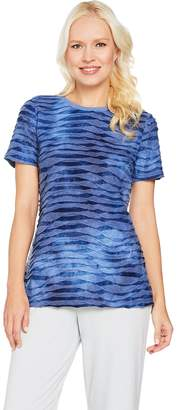 Halston H By H by Short Sleeve Tie Dye Textured Knit T-shirt