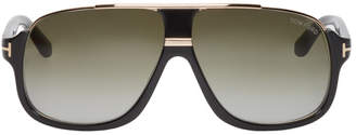 Tom Ford Black and Gold Elliot Aviator Sunglasses