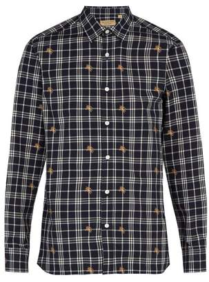Burberry Edward Fil Coupe Checked Cotton Shirt - Mens - Navy