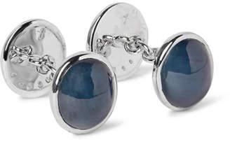 Trianon 18-Karat White Gold, Cabochon Sapphire And Moonstone Cufflinks