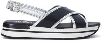 Hogan H257 Black And Silver Leather Sandal