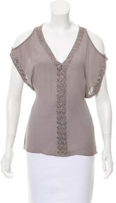 Veronica Beard Embellished Silk Top