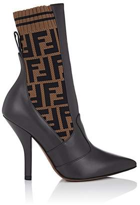 Fendi Women's Zucca-Print Leather & Knit Ankle Boots