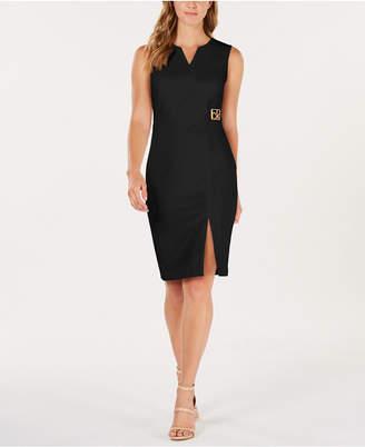 Calvin Klein Logo Side-Slit Sheath Dress