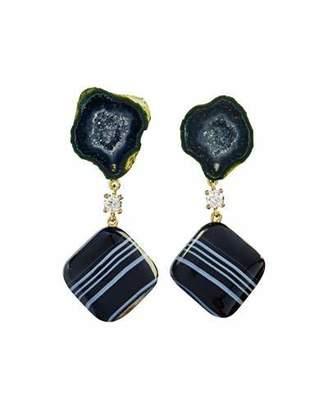 Jan Leslie 18k Bespoke 2-Tier Tribal Luxury Earrings w/ Black Tabasco Geode w/ Agate Druzy, Tuxedo Agate & Diamonds