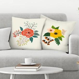 East Urban Home Annie Bailey 2 Piece Folk Art Flowers Throw Pillow Insert Set East Urban Home