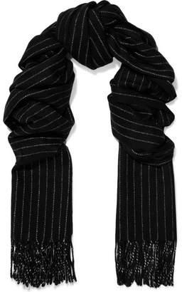Rag & Bone Fringed Pinstriped Wool Scarf - Black