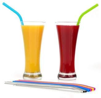LaCasa Regular Size Silicone Straws for 30 oz Tumbler & Stainless Steel Straws Bundle - 6 Silicone Straws for Yeti/Rtic / Ozark + 3 Brushes + 2 Metal Straws - Reusable Straws + 1 Storage Pouch