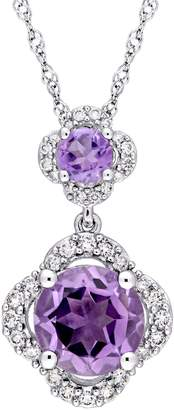 Concerto Amethyst and 0.2 CT. T.W. Diamond Quatrefoil Tiered Necklace in 14K White Gold