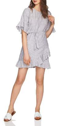 1 STATE 1.STATE Striped Ruffle-Trim Dress