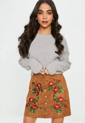 Missguided Tan Suedette Embroidered Button Mini Skirt
