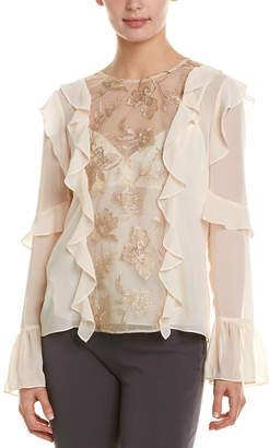 BCBGMAXAZRIA Embroidered Tulle Panel Top