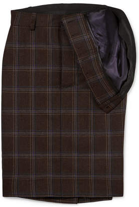 Y/Project Asymmetric Checked Wool Skirt - Dark brown