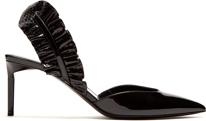SAINT LAURENT Edie ruffle-trimmed patent-leather pumps