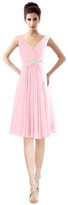 CaliaDress Women V Neck Ruffles Bridesmaid Dress Formal Prom Gowns Short C194LF US