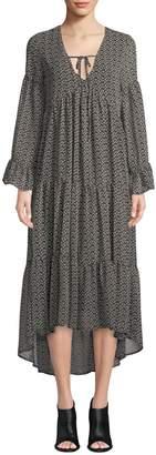 Ash Rain+Oak Flutter-Sleeve Floral Maxi Dress