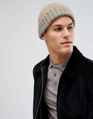 Asos DESIGN Fisherman Beanie In Pink With Gray Turn Up