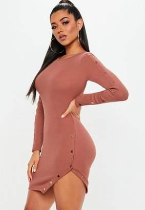 Missguided Rust Ribbed Long Sleeve Asymmetric Popper Dress