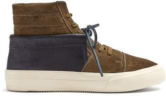 Maison Margiela Contrast-panel high-top suede trainers