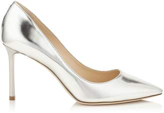Jimmy Choo ROMY 85 Silver Mirror Leather Pointy Toe Pumps