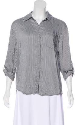 Alice + Olivia Pinstriped Button-Up Top