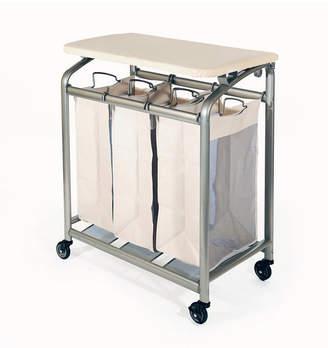 Seville Classics Mobile 3-Bag Heavy-Duty Laundry Hamper Sorter Cart with Folding Table