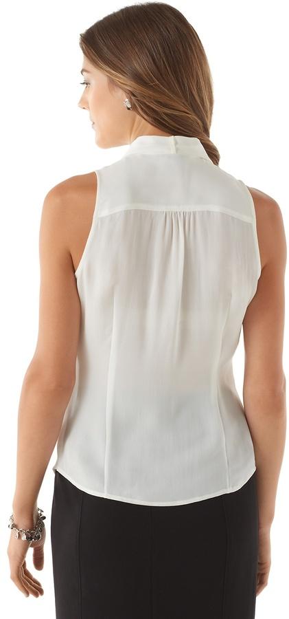 White House Black Market Removable Tie Silk Blouse