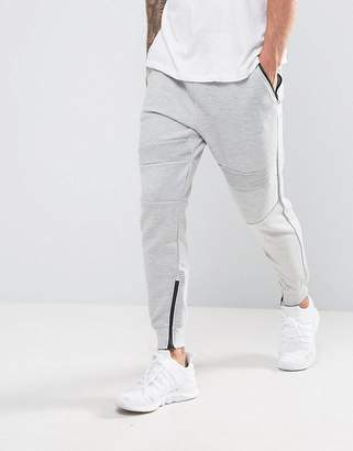Pull&Bear Panel Joggers With Zip Hem In Light Gray