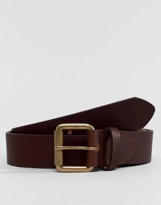 Barbour Matt Leather Belt In Brown