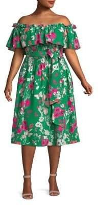 Eliza J Plus Off-The-Shoulder Ruffled Floral Dress