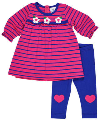 Florence Eiseman Striped Flower Dress w/ Heart-Knee Leggings, Size 3-24 Months