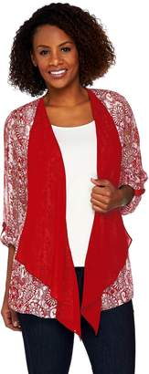 Susan Graver Printed Woven Open Front Cardigan