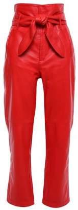 Marissa Webb Belted Leather Straight-leg Pants