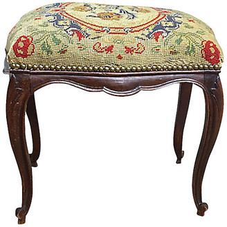 One Kings Lane Vintage 19th-C. French Needlepoint Footstool - Vermilion Designs