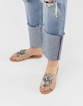 Qupid mule flat sandals in snake