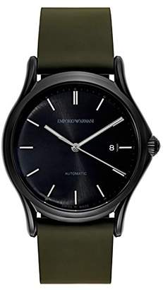 Emporio Armani Swiss Made Men's Swiss Quartz Stainless Steel and Leather Dress Watch, Color:Green (Model: ARS3016)