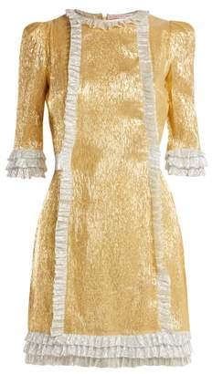 The Vampire's Wife Cate Metallic Silk Blend Dress - Womens - Gold Multi