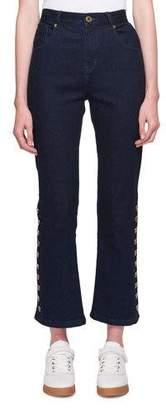 Chloé Five-Pocket Flared-Leg Cropped Jeans w/ Button Trim