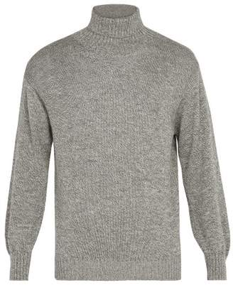 Blend of America Inis Meáin - Wool And Silk Roll Neck Sweater - Mens - Grey