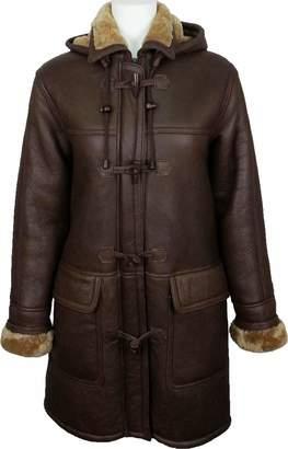 Christian Dior Unicorn London UNICORN Womens Hooded Sheepskin Duffle Coat With Ginger Fur Real Leather Jacket #CD