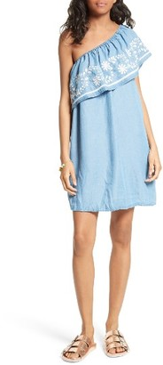 Women's Rebecca Minkoff Rita Chambray One-Shoulder Dress $178 thestylecure.com