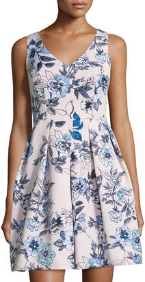 Taylor Sleeveless Floral-Print Fit-and-Flare Dress, White/Blue