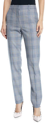 Calvin Klein Glen-Plaid Wool Skinny-Leg Ankle Pants