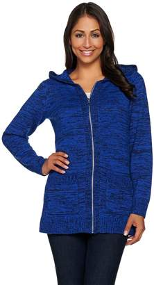 Denim & Co. Zip Front Cardigan with Hood and Pockets